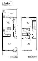 Apartment rental layout spacious living oversized closets for Two storey apartment design