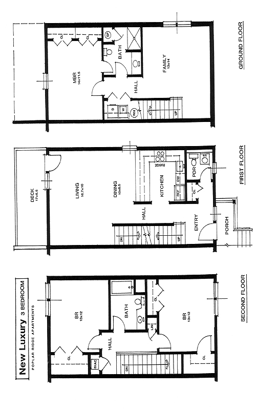 Apartment Rental Layout spacious living oversized closets patio Gray
