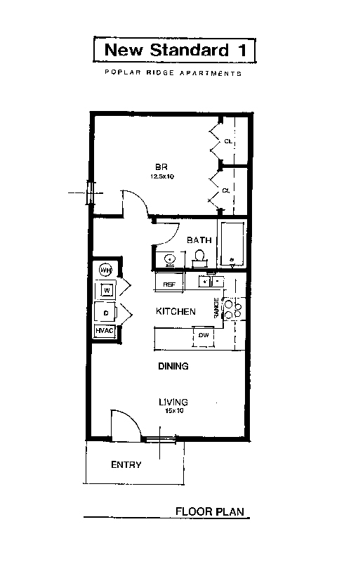 Apartment rental layout spacious living oversized closets for Small one bedroom apartment floor plans
